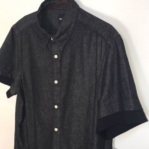 ASOS- L Dark Grey Shirt with Black Jersey Sleeves